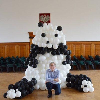 Panda bardzo wielka - finał instalacji artystycznej z 800 balonów, czerwiec 2014 rok.
